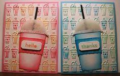 Mindy Cottingham:  Tim Holtz Fresh Brewed die, Labels thinlits,  On the Go tef; SU Thanks and Hello stamp set