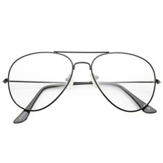 Unisex retro metal fashion aviator sunglasses with clear lenses. Throwback to 1980's eyewear trends.