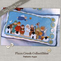 Nativity Scene *Christmas Pillow Pattern* and door knob hanger from wool felt, hand stitched applique pattern with baby Jesus