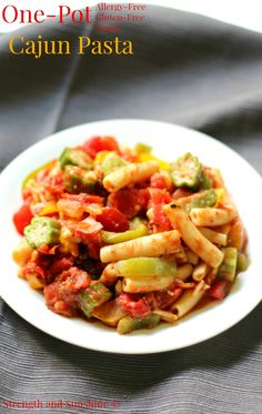 An easy One-Pot Cajun Pasta dinner recipe that's allergy-free, gluten-free, & vegan! Filled with bell pepper, okra, tomatoes, and loads of flavorful spices!