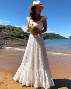 Bohemian White Lace Dress Boho Beach Dresses Chic Women Maxi Dress Womens A Plus Size Summer Long Wear Large Sizes 2019 Frocks Maxis, White Lace Maxi Dress, Bohemian White Dress, Lace Ruffle, White Maxi Beach Dress, White Dress Summer, Black Maxi, Vestido Casual, Chic Dress