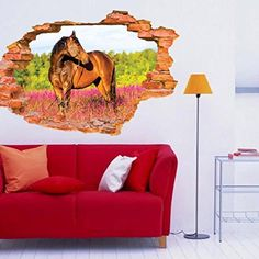 $2.69  - Kemilove 3D Horse Wall Stickers Mural Decal Art Home Decor >>> Visit the image link more details. (This is an affiliate link) #WallStickersMurals