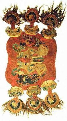 Manta de montar escita del siglo IV a. C hallada en los montes Altai.