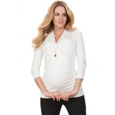 Beautifully ruched, Seraphine's Cream Cross Over Maternity & Nursing Top flatters your figure & pulls aside for easy breastfeeding access! Maternity Clothes Online, Cute Maternity Outfits, Maternity Nursing, Maternity Tops, Maternity Fashion, Maternity Wear, Celebrity Baby Names, Celebrity Babies, Celebrity Photos