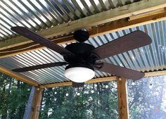 Corrugated Sheet Metal roof for porch...around $14 a sheet at home improvement store