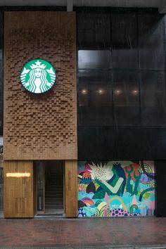 Inside the Starbucks Wan Chai coffee mansion - Inside Retail Retail Facade, Shop Facade, Hotel Concept, Restaurant Concept, Entrance Design, Facade Design, Shop Front Design, Store Design, Restaurant Exterior Design