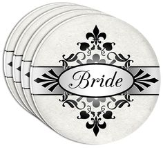 "Amazon.com: Custom & Cool {4"" Inches} Set Pack of 4 Round Circle ""Flat & Smooth Texture"" Drink Cup Coasters Made of Acrylic w/ Fancy Bridal Bride Text Wedding Newly Wed Design [Colorful White, Gray & Black]: Home & Kitchen"