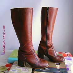 Boho 70s Stove Pipe Leather Boots sz 7 .5  M Euro 38 UK by GoodEye