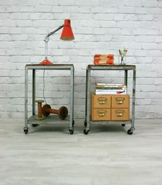 VINTAGE INDUSTRIAL STEEL MID CENTURY FACTORY TROLLEY BEDSIDE CABINET STORAGE | eBay Industrial Chic, Vintage Industrial, Steel Sculpture, Bedside Cabinet, Eclectic Decor, Storage Cabinets, Handmade Art, Decorative Items, Decor Styles