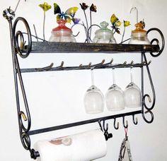 Mensole da cucina - étagère, con fiori e farfalle, per la cucina - un prodotto unico di artisticwroughtiron su DaWanda