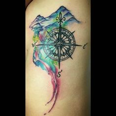 Image result for mountains with compass tattoo