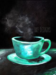 Colorful Coffee Painting by HKFDesigns on Etsy, $90.00