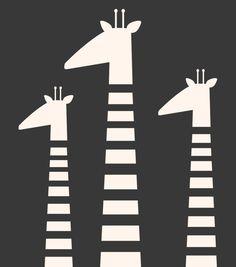 Giraffe family Black and white nursery art by DeLierreKids on Etsy