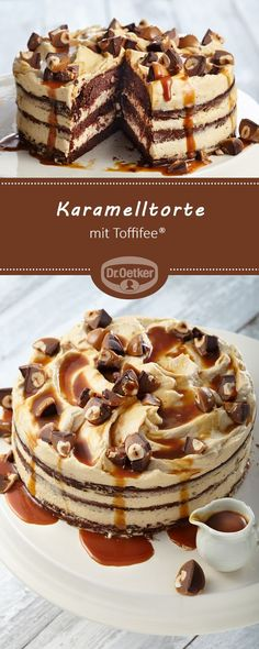 Karamelltorte mit Toffifee® - Torten , Karamelltorte mit Toffifee® Caramel cake with Toffifee® - Juicy pastry with Toffifee® and caramel cream filling backen. Chocolate Maltado, Chocolate Chip Cookies, Food Cakes, Torte Au Chocolat, Cake Recipes, Dessert Recipes, Flaky Pastry, Fall Desserts, Food And Drink