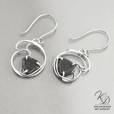 Shadows Black Druzy Fine Art Earrings by Kaelin Design