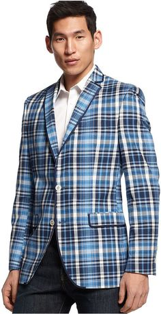 $150, White and Navy Plaid Blazer: Tallia Orange Navy Plaid Blazer. Sold by Macy's. Click for more info: http://lookastic.com/men/shop_items/45425/redirect