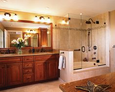 luv this shower/tub combo for small master bath