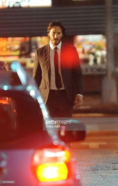 Actor Keanu Reeves on the set of 'John Wick 2' on November 16, 2015 in New York City.