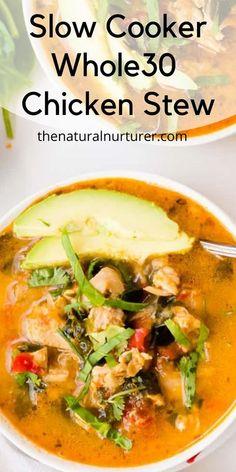 Paleo Chicken Stew Recipe, Slow Cooker Chicken Stew, Crockpot Meat, Healthy Crockpot Recipes, Slow Cooker Recipes, Soup Recipes, Chicken Recipes, Dinner Recipes, Free Recipes