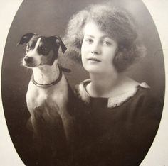 Antique French lady with dog photograph 1920s by DogDayAfternoons