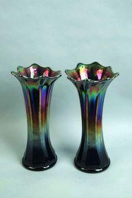 Pair of amethyst carnival glass vases