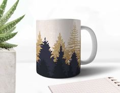 Forest Mug Xmas Gift Mug Christmas Present Golden Ceramic Office Mug Personalized Mug Gold Mug Cute Mug Coffee Mug Birthday Gift Mug AMM4005 by AmericanCases on Etsy https://www.etsy.com/ca/listing/564549116/forest-mug-xmas-gift-mug-christmas