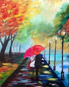 """""""Lovers walk"""" by Cinnamon Cooney for your best Personal Painting Party. A sweet couple walks in the park under a red Umbrella. For Hart Party"""