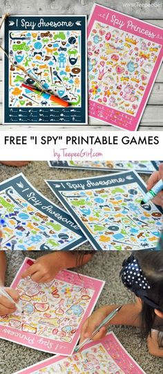 Printable I SPY Games I Spy Games printables by Teepee Girl - I Spy Princess and I Spy Awesome available!I Spy Games printables by Teepee Girl - I Spy Princess and I Spy Awesome available! Games For Toddlers, Kids Party Games, Birthday Party Games, Birthday Crafts, Preschool Activities, Birthday Kids, Camping Activities, Children Games, Camping Ideas