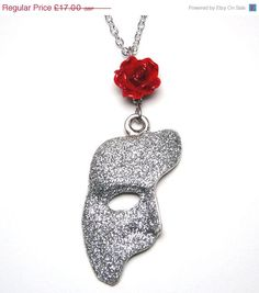 SALE Phantom Of The Opera Mask Rose Necklace by missbohemia, £14.45