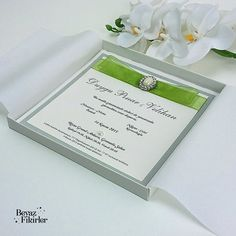 Elegant Green Boxed Wedding Invitation 25 Card by Beyazfikirler
