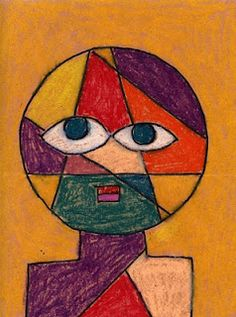 Geometric shapes + line art - pencil drawing, tracing with marker, oil pastels