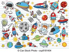 Vector - Outer Space Doodle Vector Set - stock illustration, royalty free illustrations, stock clip art icon, stock clipart icons, logo, line art, EPS picture, pictures, graphic, graphics, drawing, drawings, vector image, artwork, EPS vector art