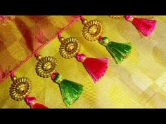 How to make double colour saree kuchu at home with beads - YouTube