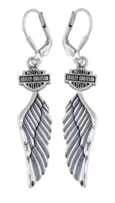 Harley-Davidson Women's Bar & Shield Winged Dangle Earrings Harley-Davidson® Bar & Shield Winged Dangle Earrings With Safe Hooks. Made of Sterling Silver. Show off your love for Harley-Davidson with these beautiful dangle earrings. Harley Davidson Jewelry, Harley Davidson Gifts, Harley Davidson Street Glide, Harley Davidson Sportster, Davidson Bike, Wing Earrings, Dangle Earrings, Bullet Earrings, Harley Davidson Wallpaper