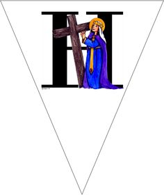 "All Saints Banner!  Gorgeous Free Printable All Saints Day Party Banner.  Each letter has it's own pennant that spells out ""Happy Feast of All Saints"" with each letter hosting a saint that begins with that letter (""H"" for St. Helen, ""A"" for St. Anne, ""P"" for St. Patrick, etc.)"