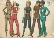 An unused original ca. 1971 Simplicity Pattern 9508.  Misses Tunic and Pants: The tunic with princess seaming has back zipper, high round neckline and set in sleeves. V. 1 features contrasting button trimmed flaps and buckle trimmed tie collar. V. 1 and V. 5 have long sleeves. Top stitched V. 2 and V. 3 with contrasting collar and belt may be made with contrasting button trimmed tab or with braid trim. V. 2, V. 3 and V. 4 have short sleeves. Collarless V. 4 features looped braid trim…