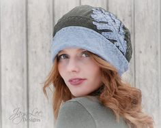 Winter Grey and Green Slouch Hat with Oak Leaf Design by Jaya-Lee Designs. I made this brimmed slouch hat from 2 recycled t-shirts. The