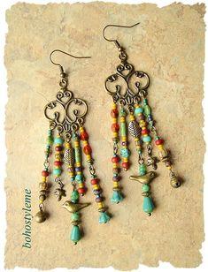 Boho Gypsy Chandelier Earrings Fiesta Assemblage Earrings