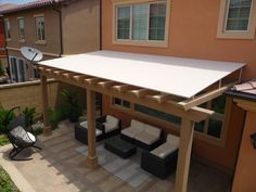Fancy Outdoor Wood Awning Ideas for Your Exterior Design: Comfy Wood Trellis Pergola Roofing With Wood Awning Designs Feat Outdoor Furniture Deck Ideas