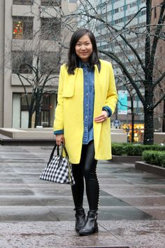 yellow yellow Collincos coat - black leather Zara boots