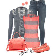 """Autumn Gray and Coral"" created on Polyvore"