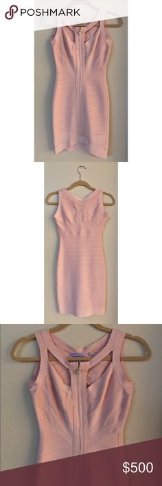 SPRING SALE!!😍🌷🌸 HERVE LEGER DRESS Gorgeous Bandage Dress with Front Zipper Detail | 100% Authentic | #00144262 | Style: #HO16M726 | Factory ID: #H599KTC | Color: Icy Rose | Materials: 90% Rayon, 9% Nylon, 1% Spandex | Pre-Loved ♥️ |  Excellent conditions! Only worn once!!💃🏻 | Please see pictures & lmk if you need any additional info!!📸 | Open to offers!! Herve Leger Dresses Wedding