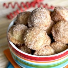 Baked mini churro bites - great cinnamon sugar flavor without deep frying!