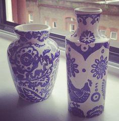 Emma Bridgewater Blue Wallpaper Mustard Vase 2014