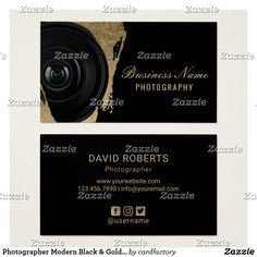 Shop Photographer Modern Black & Gold Photography Business Card created by cardfactory. Photography Price List, Photography Business Cards, Black Gold, Things To Come, Creative, Modern, Prints, Design, Business Cards