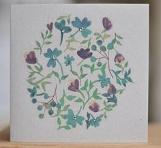 Hand illustrated watercolour floral greeting card