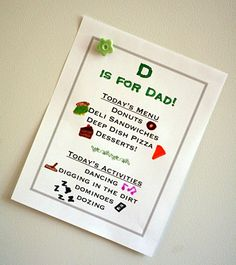 D is for Dad Menu