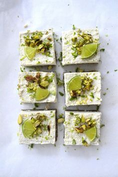 Raw Pistachio Coconut Lime Slices