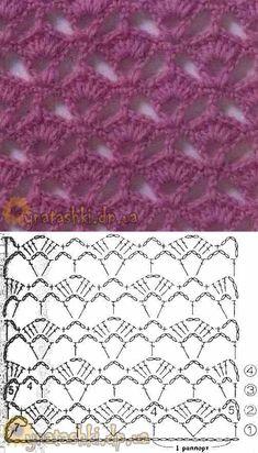 Punto crochet abanico