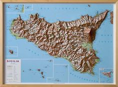 Sicily Raised Relief Map